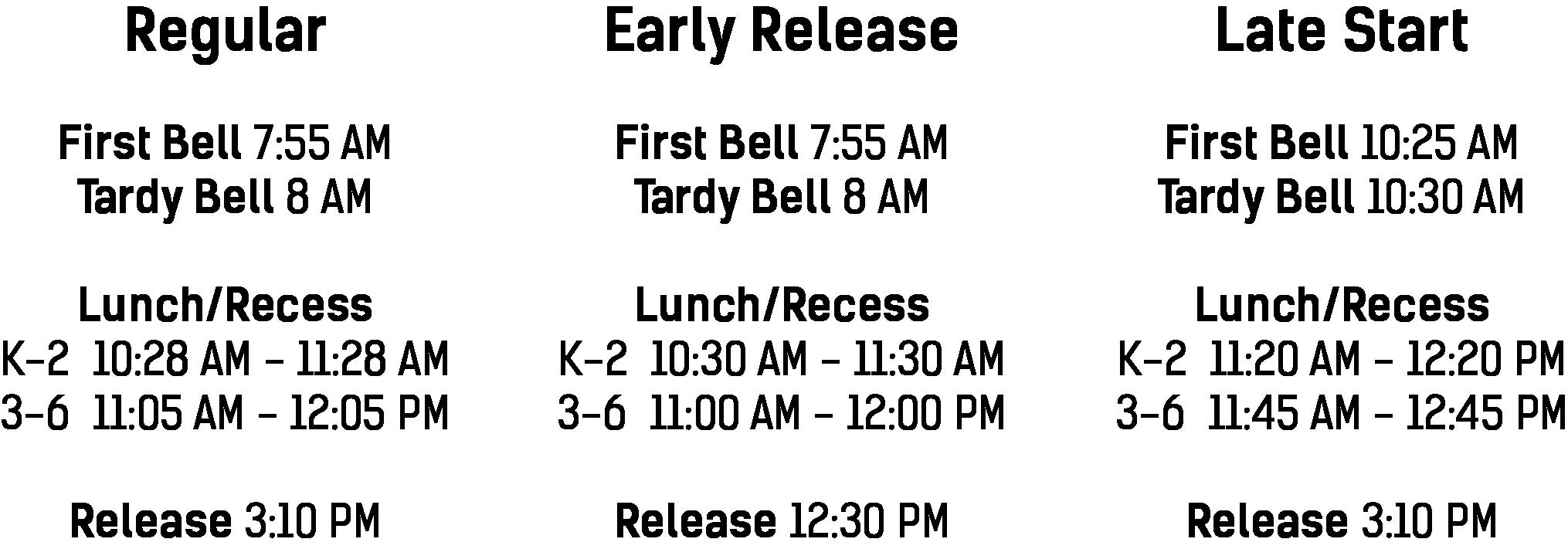 K-6 Bell Schedule