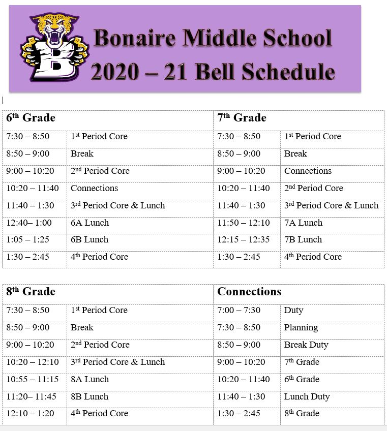 20-21 Bell Schedule