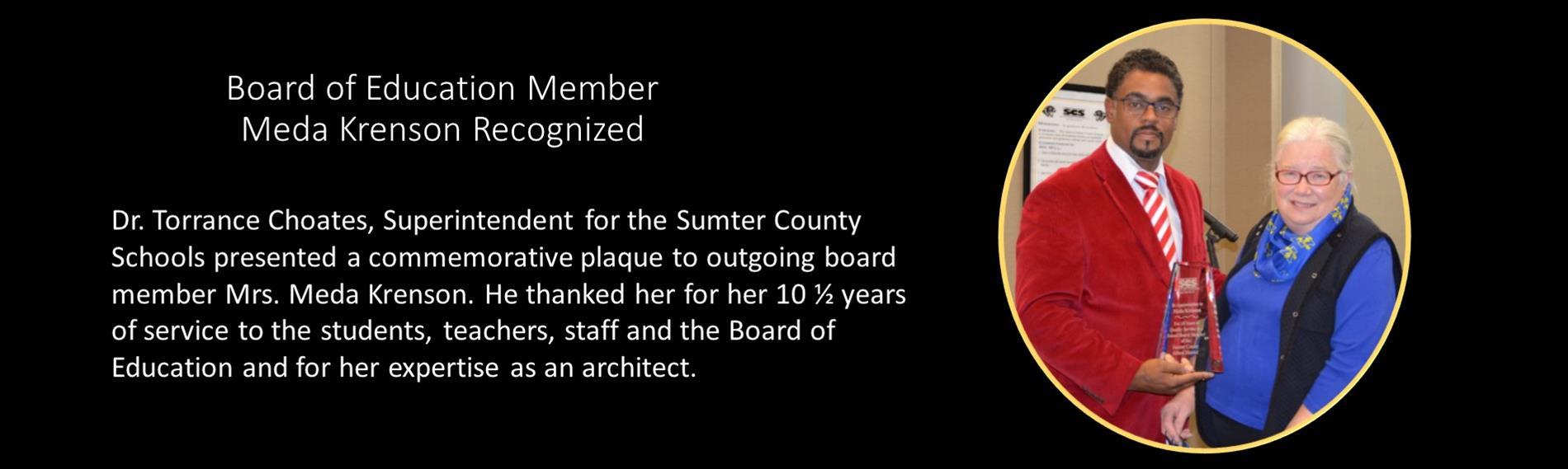 Board of Education Member Meda Krenson Recognized