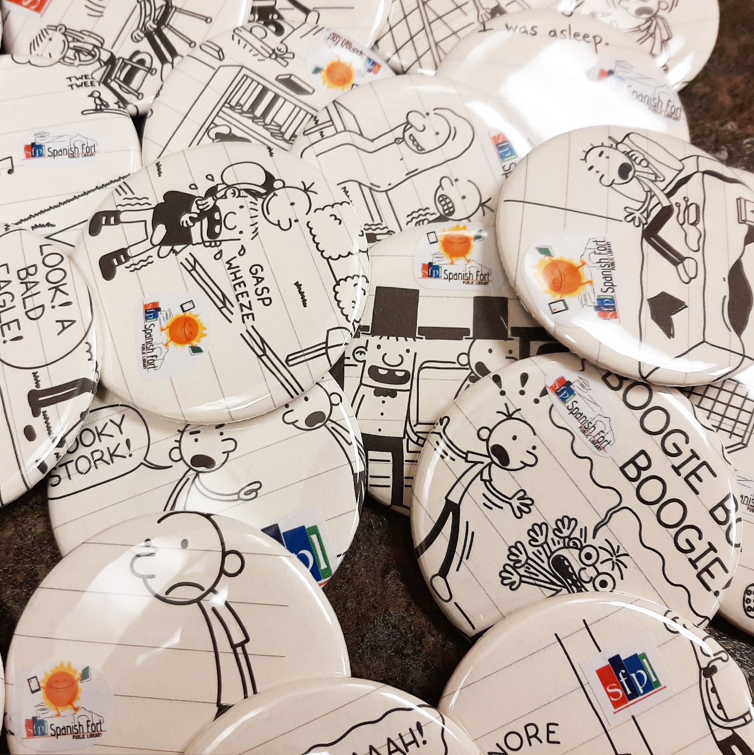 The first participants of the Stinky Cheese Contest will earn a Diary of a Wimpy Kid button! Supplies are limited! After you have submitted the entry form, ask an SFPL staff member for yours! Supplies are limited!