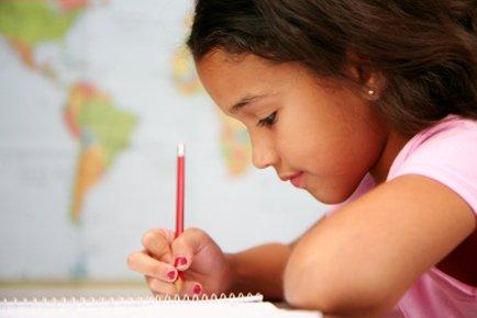 girl taking test
