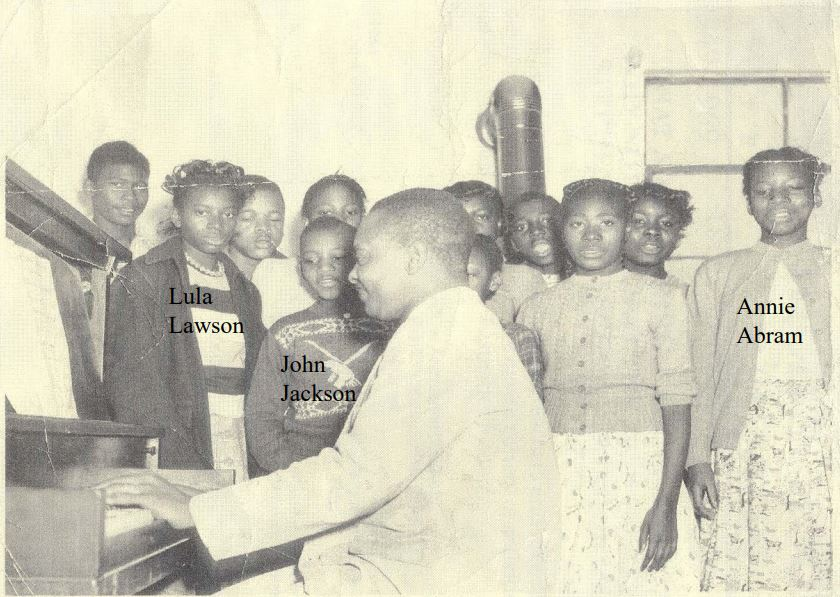 Pearl Stephens School music class in 1950 with teacher, Mr. Harrison.