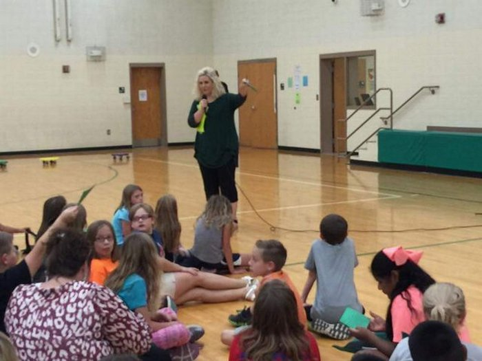 Mrs. Driver giving instructions.