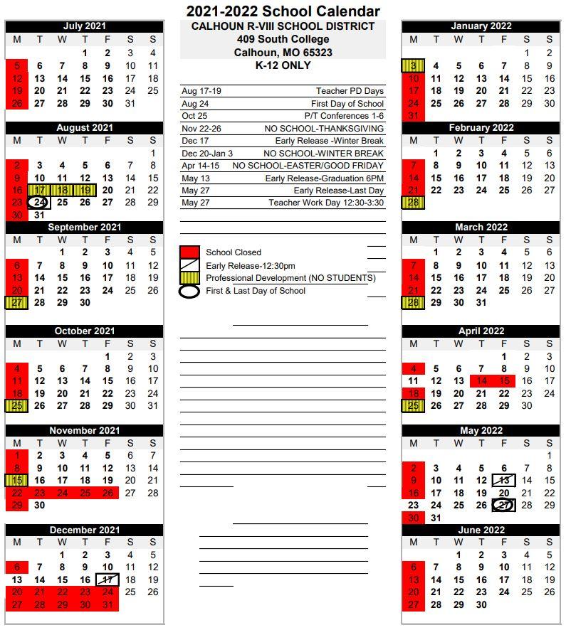 2021 K12 Calendar