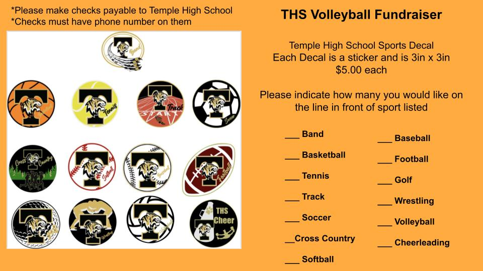 Sports Decal Order Form