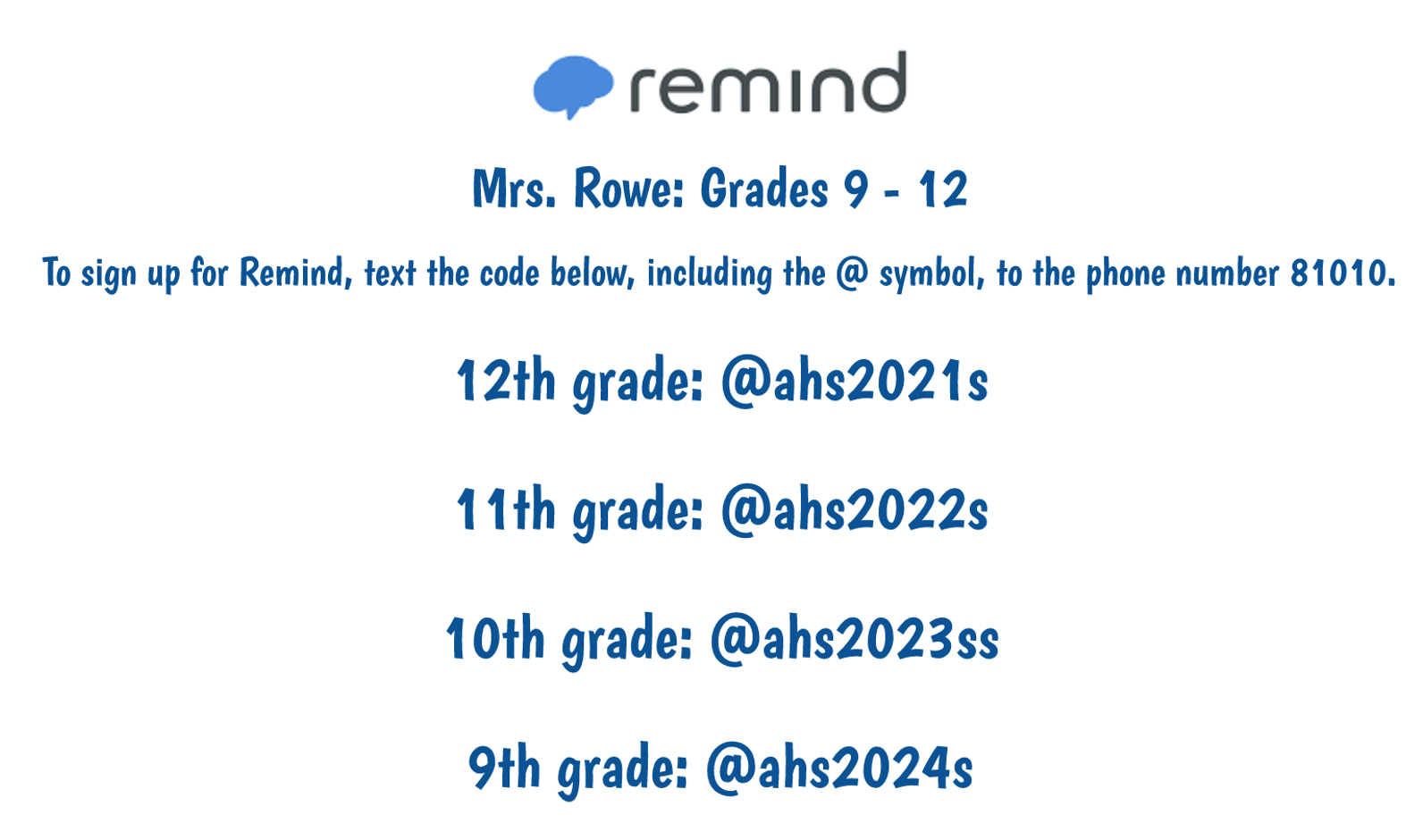 Join my Remind Groups to stay informed!