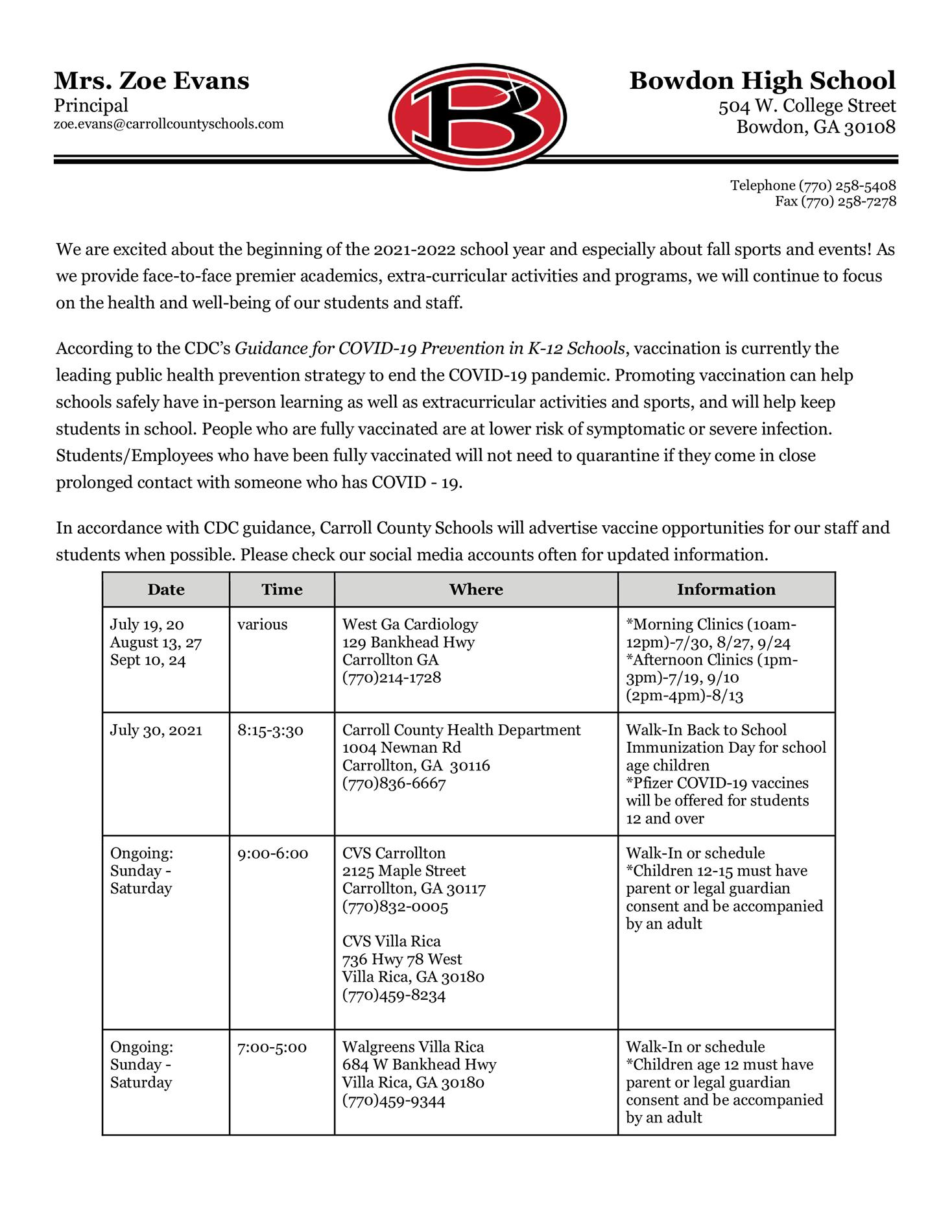letter from Carroll County Schools about Covid vaccination sites