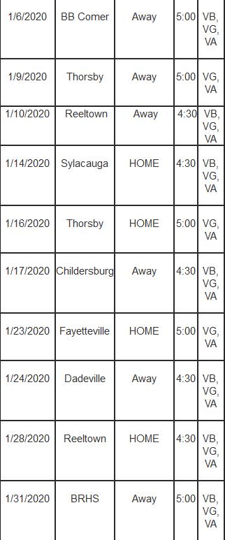 Basketball VA Schedule