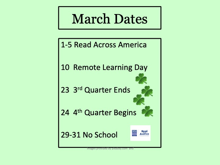 March Events with shamrocks and Read Across America symbol