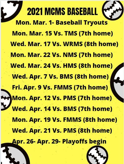 Baseball schedule 2021