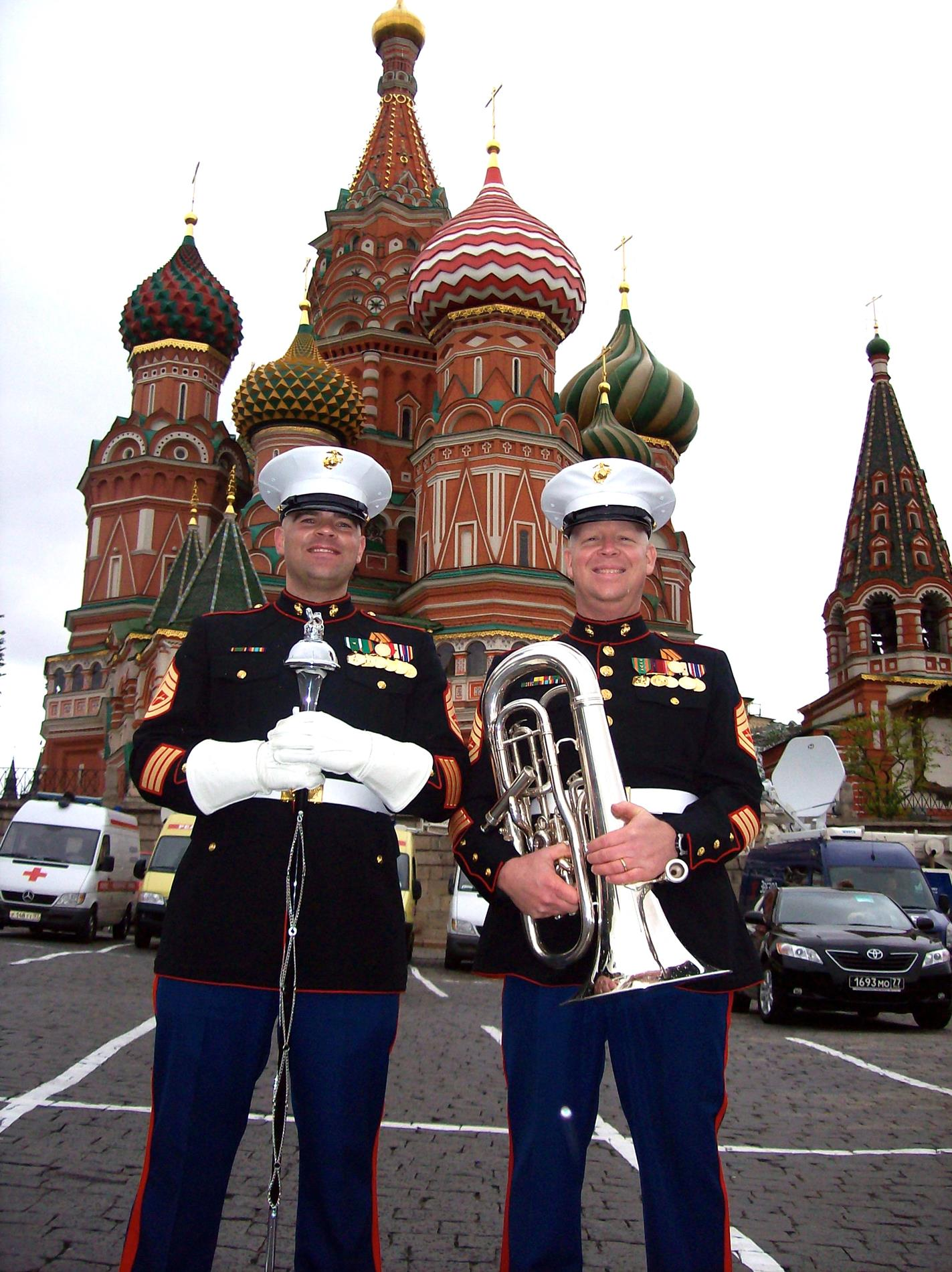 Just outside the Red Square in Moscow. Ben and I were the first two US Marines to ever march on Red Square. He was first as Drum Major, I was 6 steps behind him marching guide for the block. This was when I was stationed in Naples Italy with the Navy NATO Band 2010.