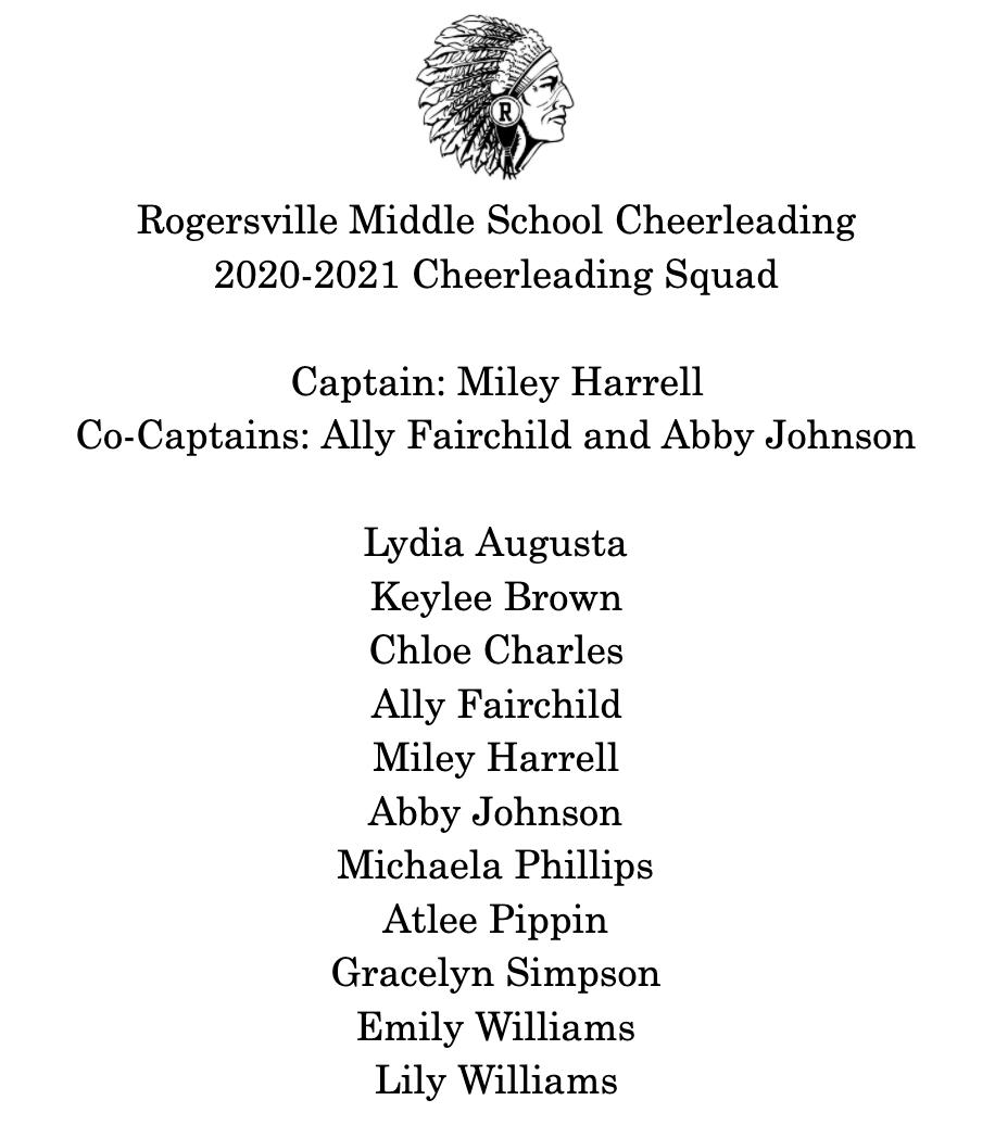 2020-2021 RMS Cheerleaders
