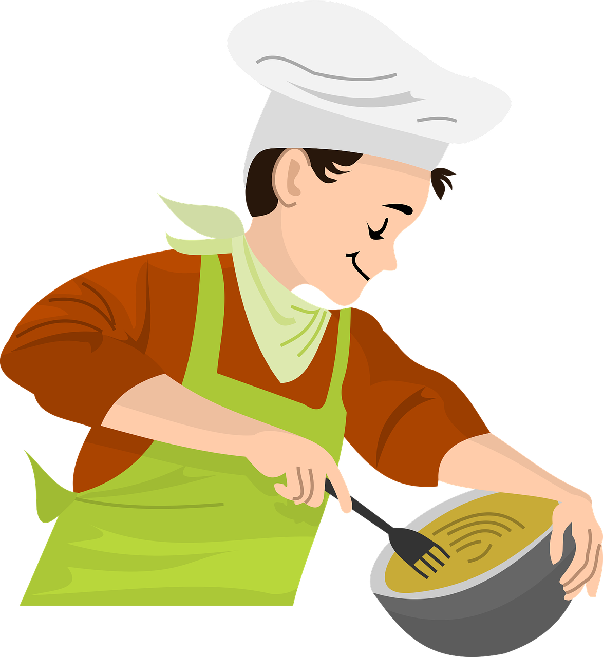 Smiling person cooking