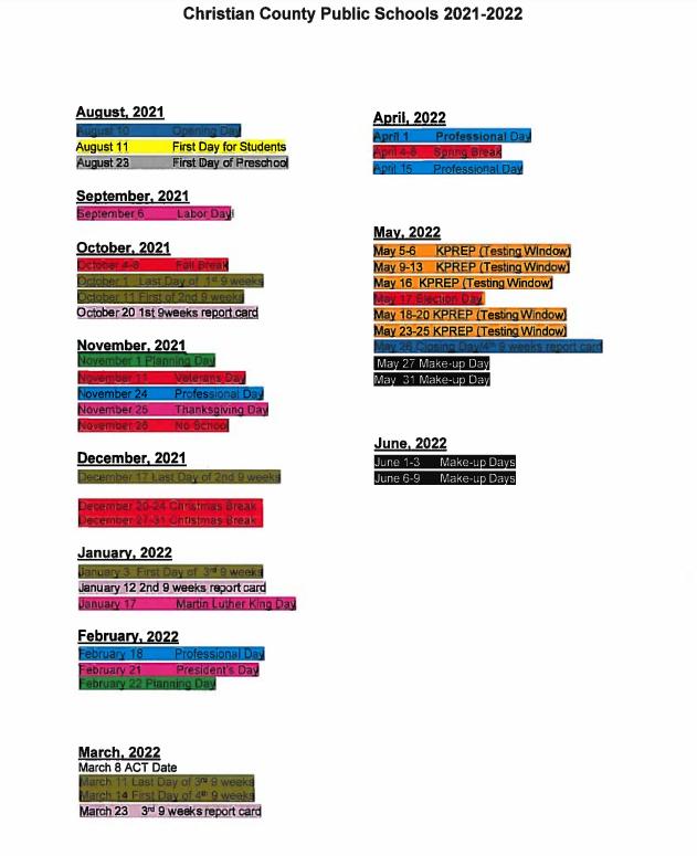 2021-22 Calendar Text Version