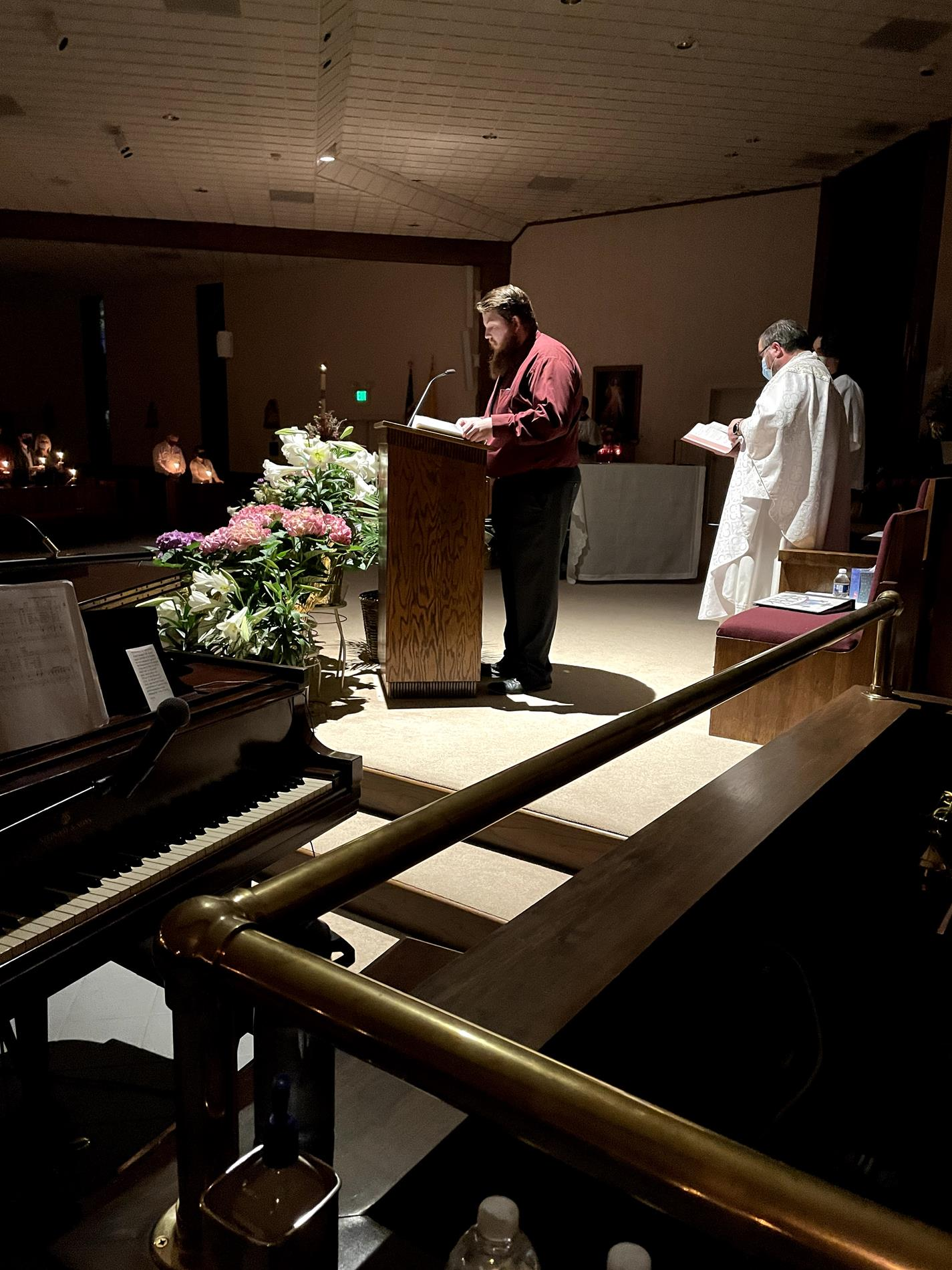 McCahill singing the Easter Proclamation (Exsultet)