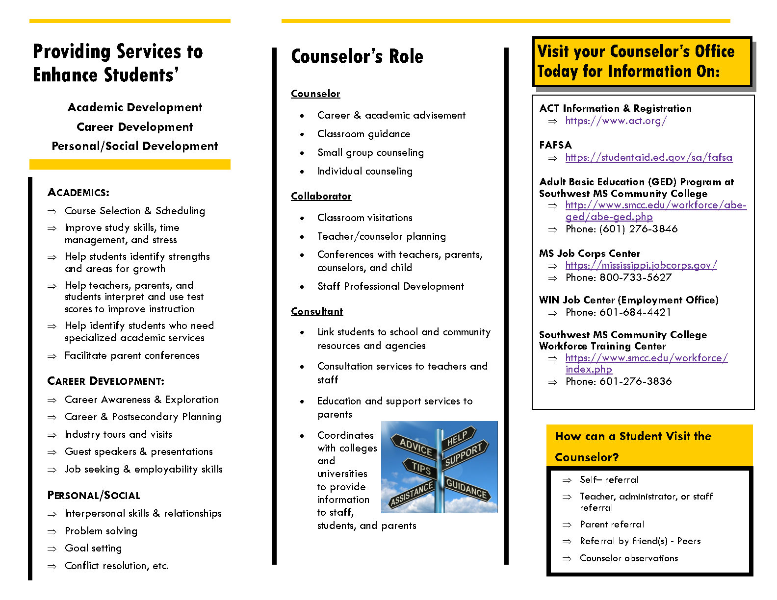 picture of a counseling program brochure page 2