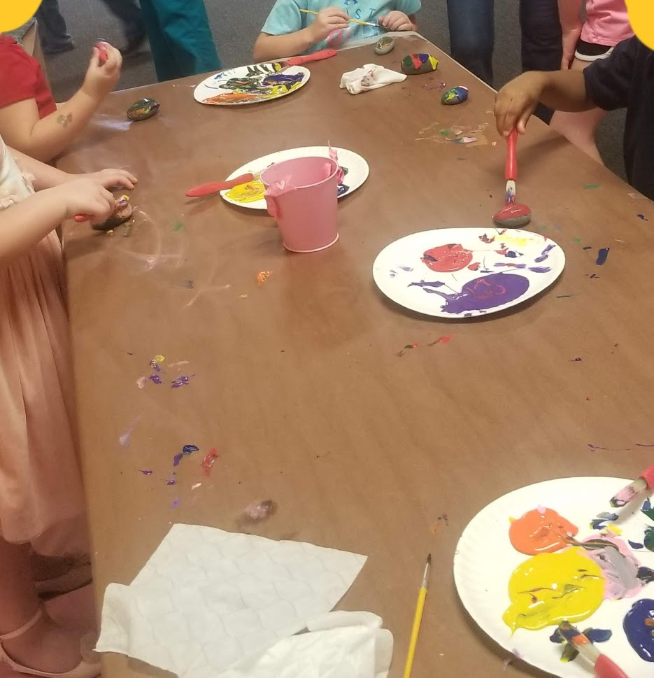 We painted rocks for our rock garden during our first parent night.