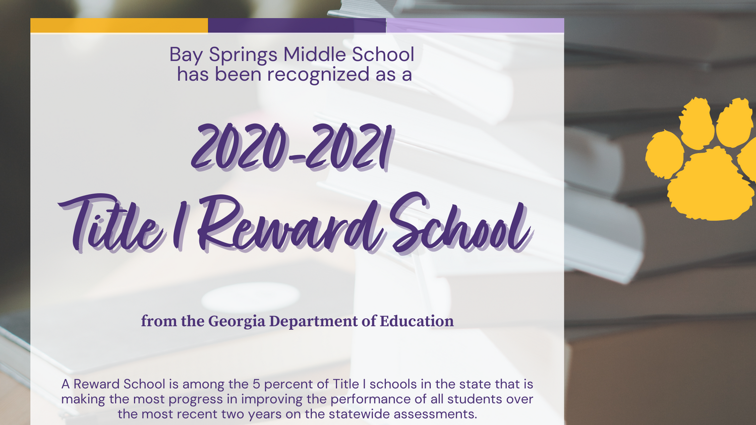 Bay Springs is Recognized as a Title I Reward School