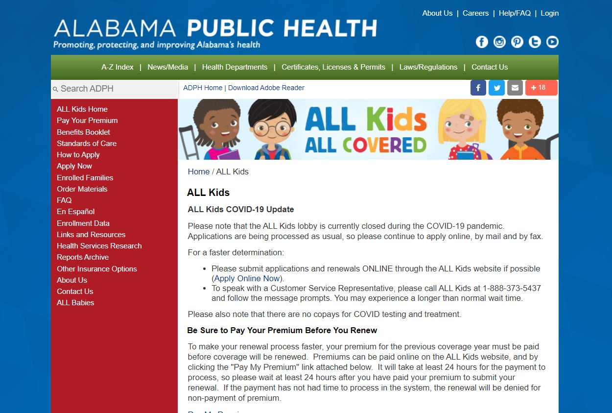 Link to ADPH All Kids website
