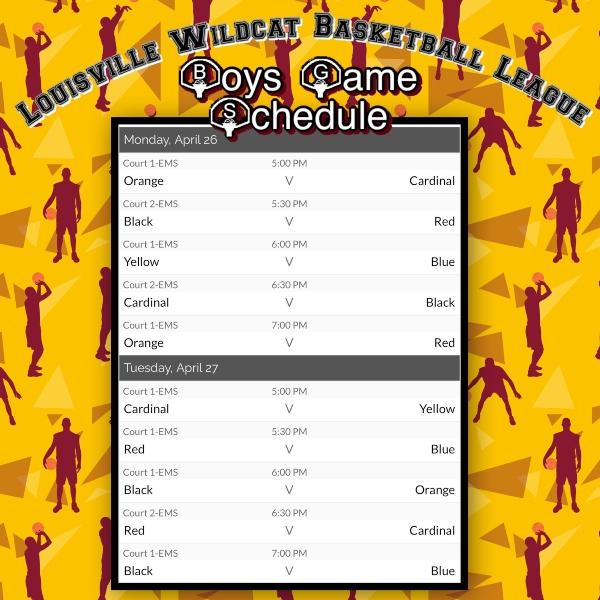B Ball Schedule 1