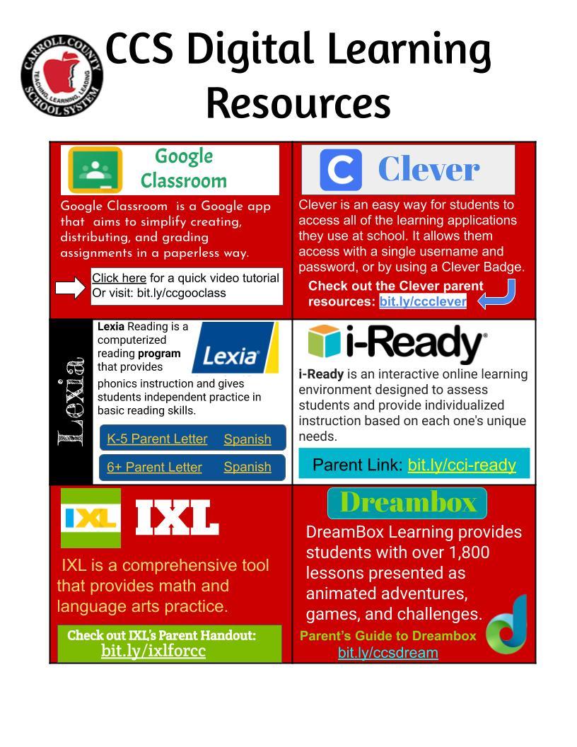 CCS Digital Learning Parent Resources Flyer