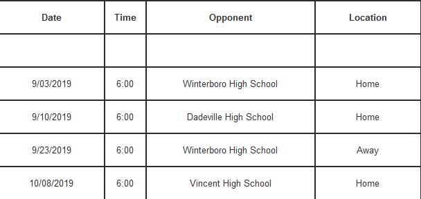Football JV 2019 Schedule