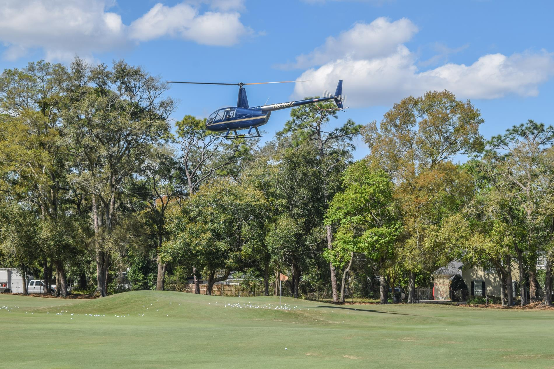Helicopter Above the Golf Course