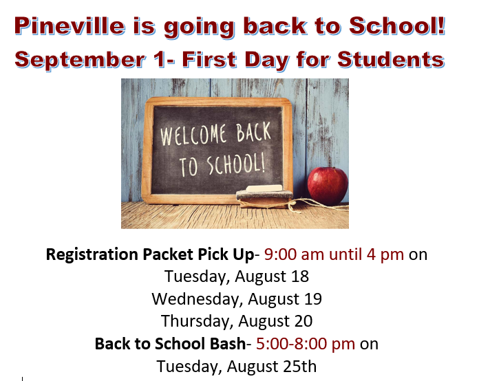 "PINEVILLEISGOINGBACKTOSCHOOL! SEPTEMBER1- FIRST DAY FOR STUDENTS-small chalkboard on desk beside apple, says ""Welcome back to school!"""