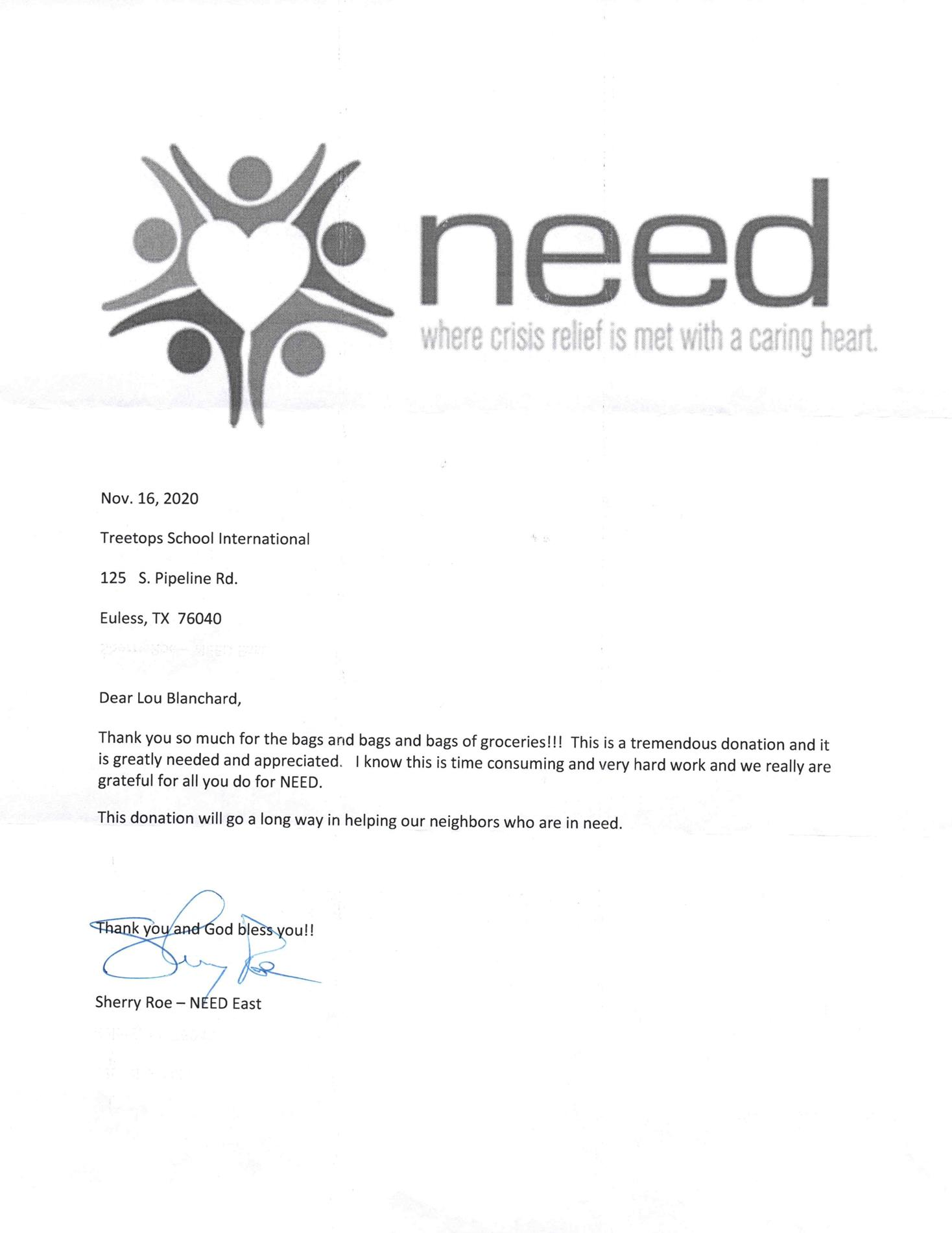 Community Need Letter