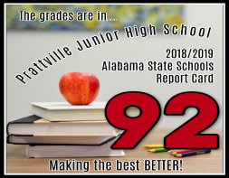 stack of books with apples on top contains the text The Grades are in Prattville Junior High school 2018/2019 Alabama State Schools Report Card 02 Making the best better.