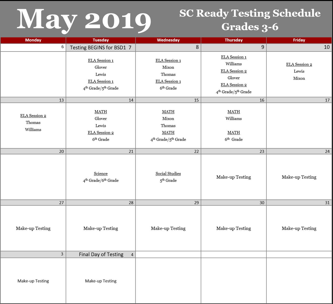 Testing Schedule 2019