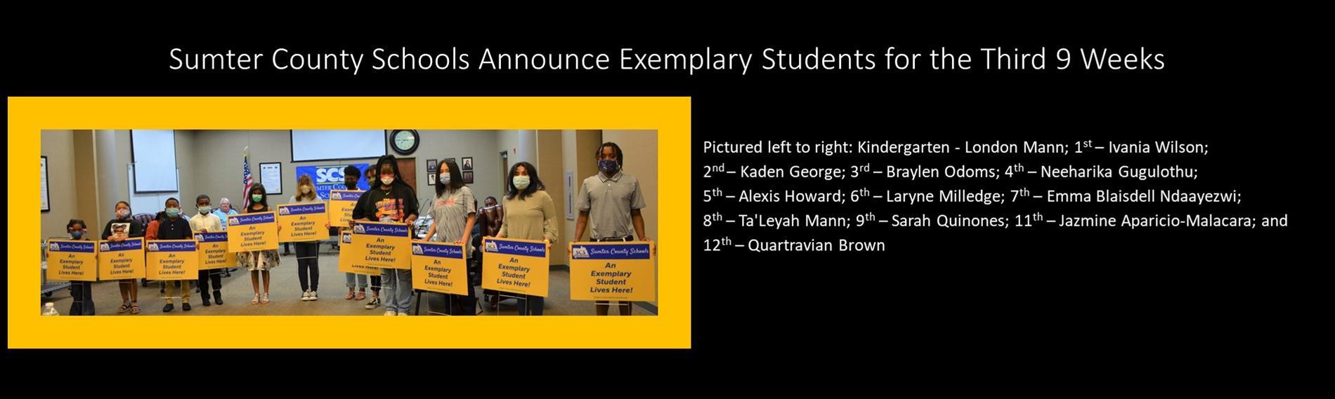 Third Nine Weeks Exemplary Students