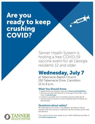Tanner COVID Vaccine Flyer