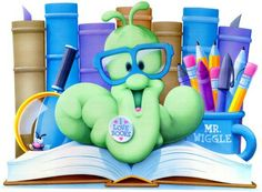 Worm wearing glasses sitting on top of a book
