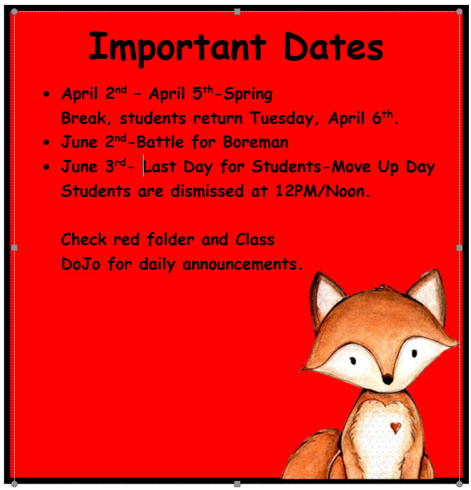 Important Dates April-May