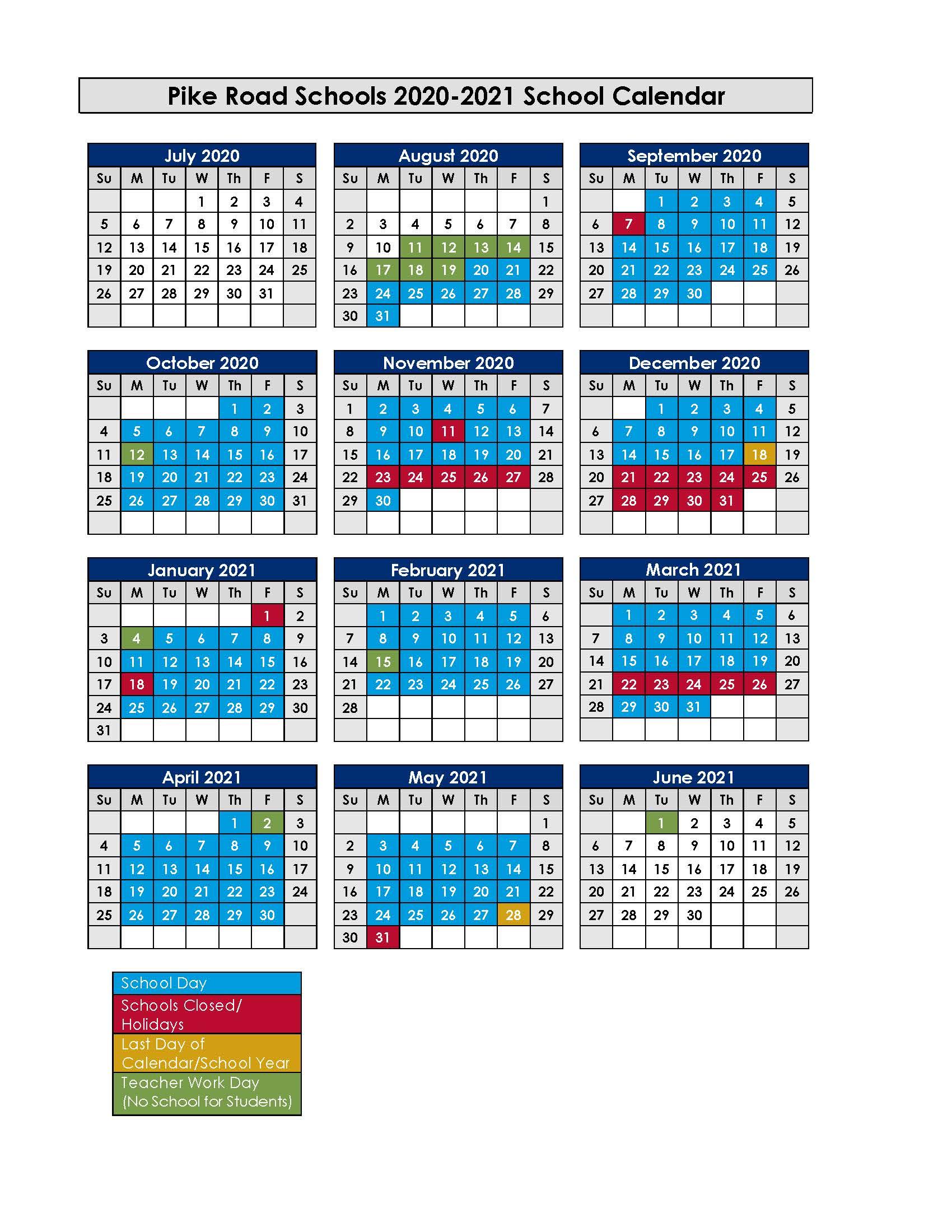 PRS 2020/2021 Calendar