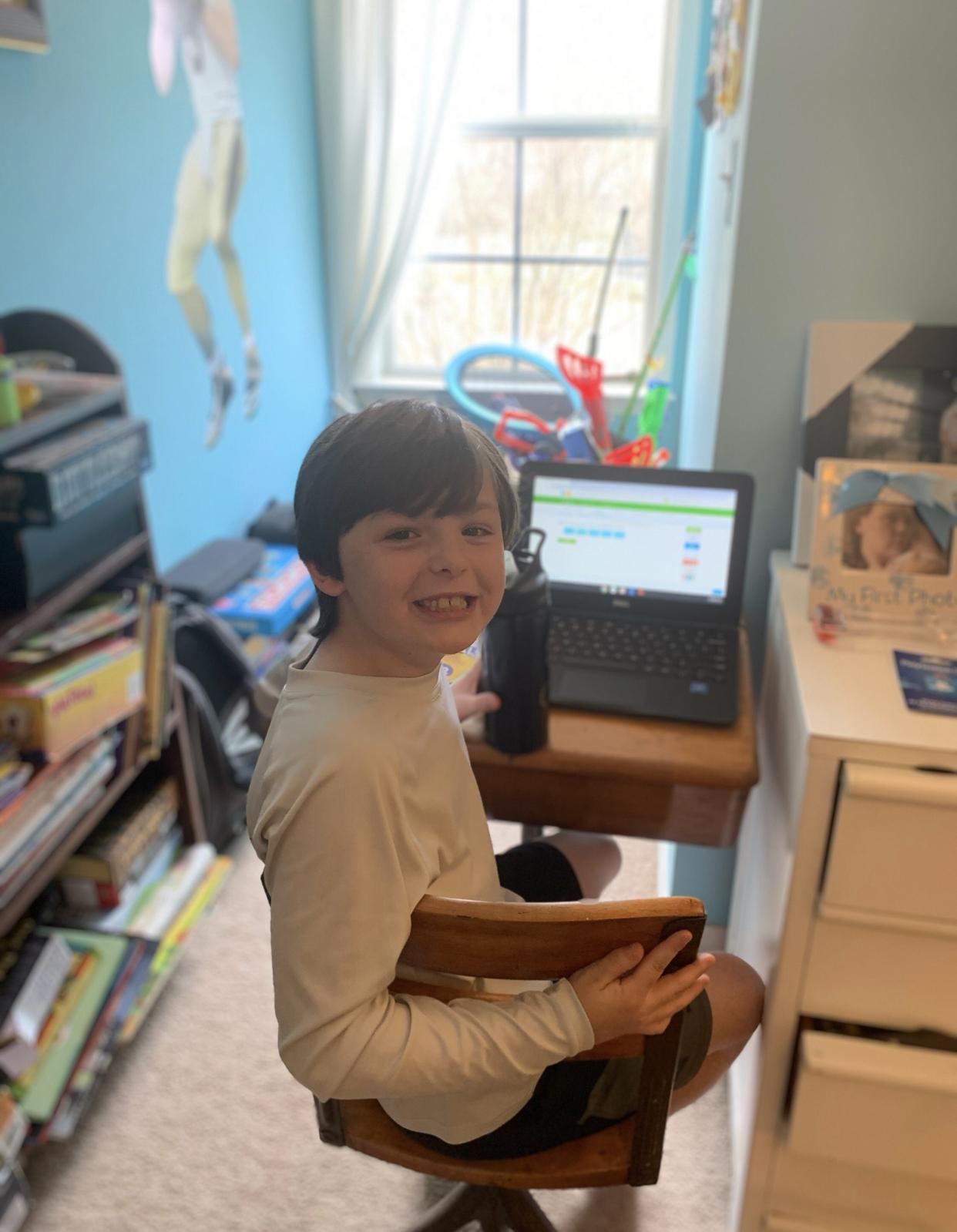 Clay working hard on IXL!