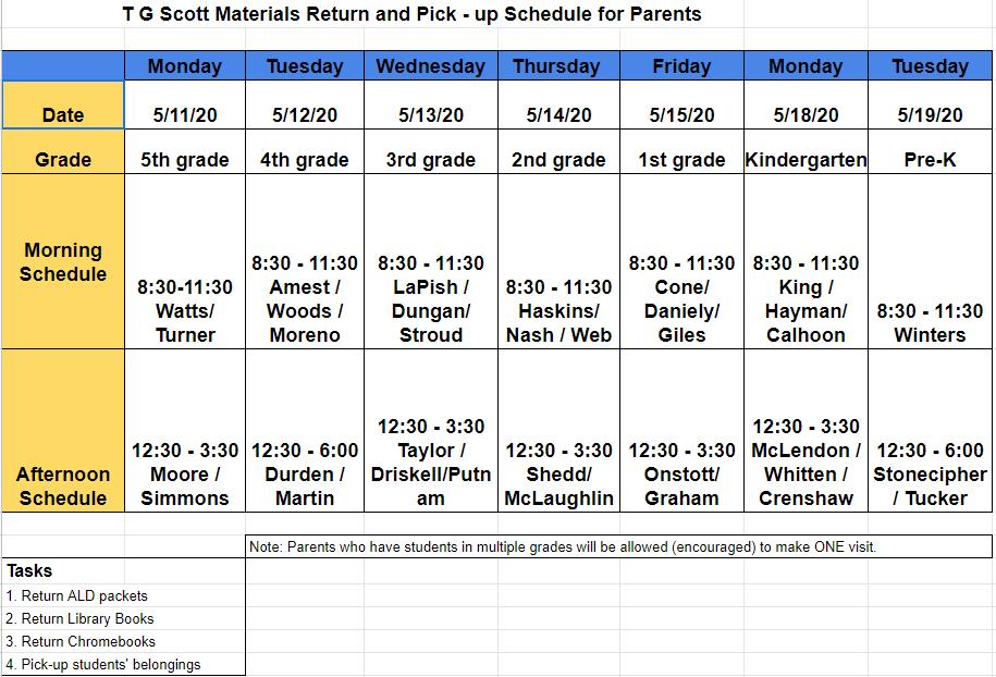 Parent Schedule