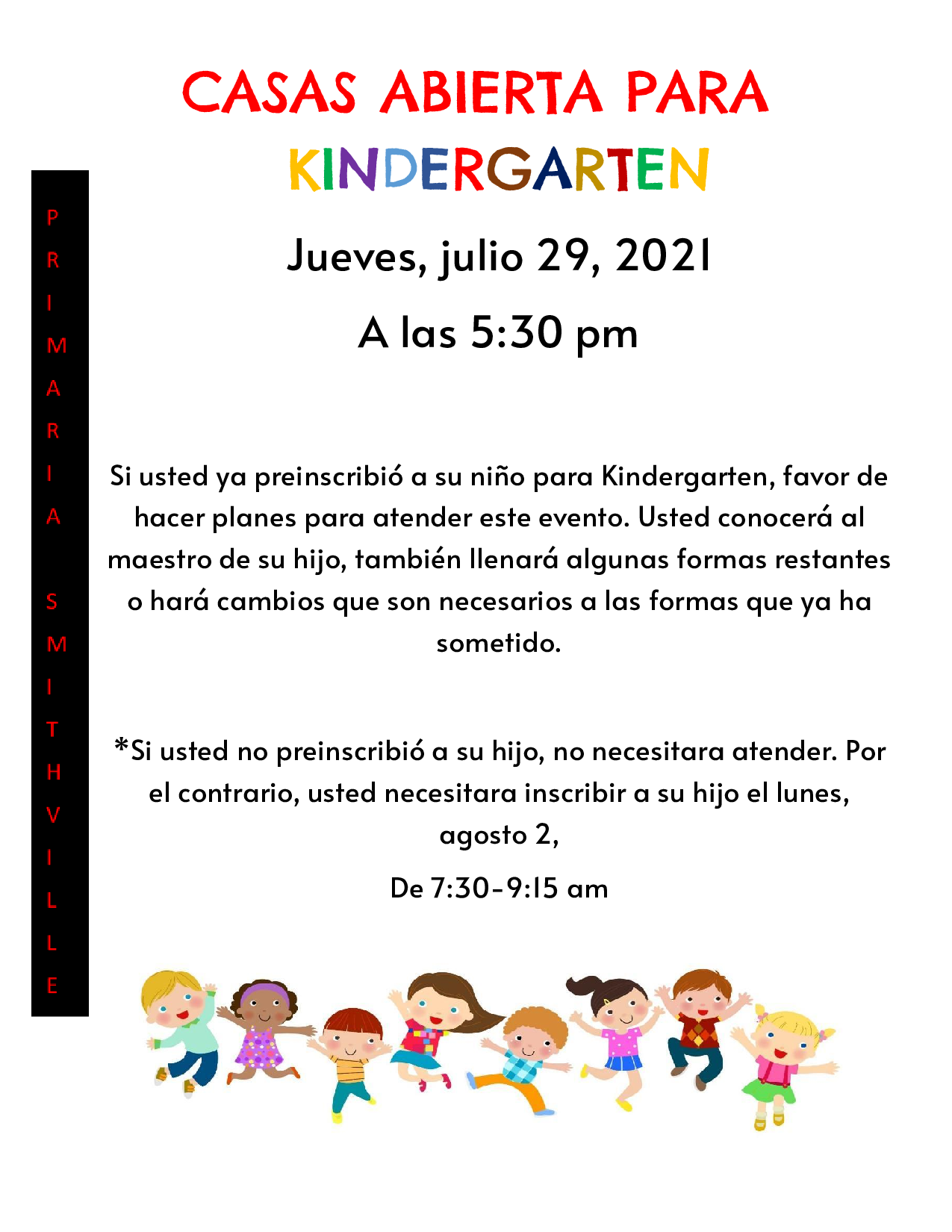 spanish kindergarten open house