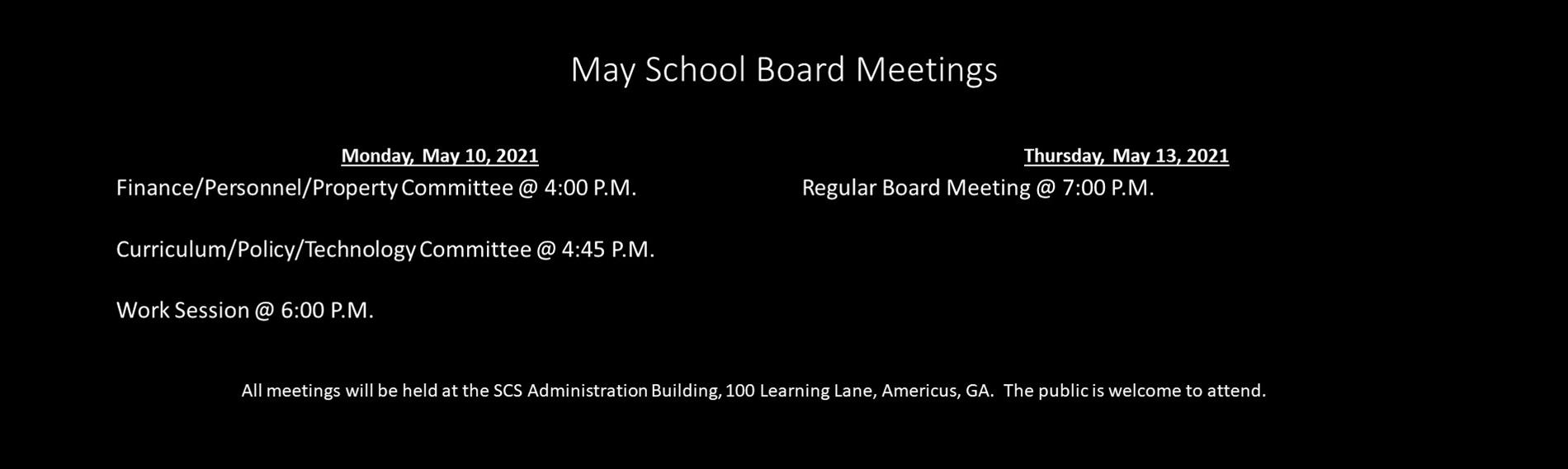 May 2021 BOE Meeting