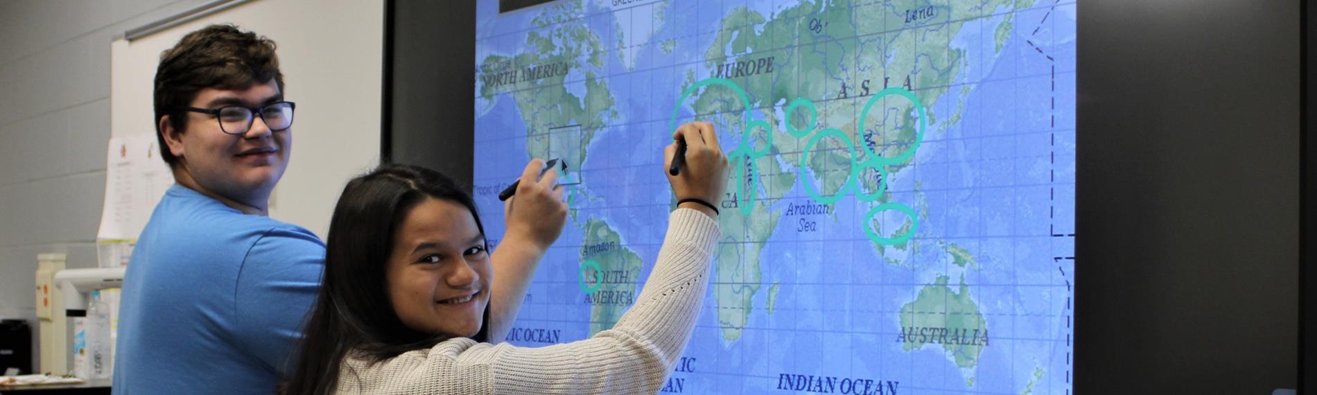 Students at OHS using Interactive Display
