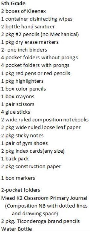 5th supplies