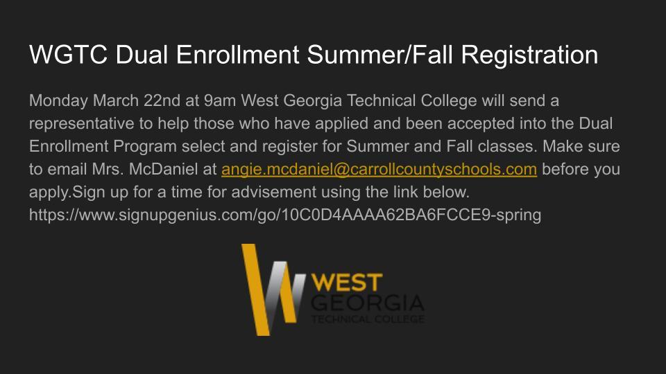Sign ups for WGTC Dual Enrollment Registration