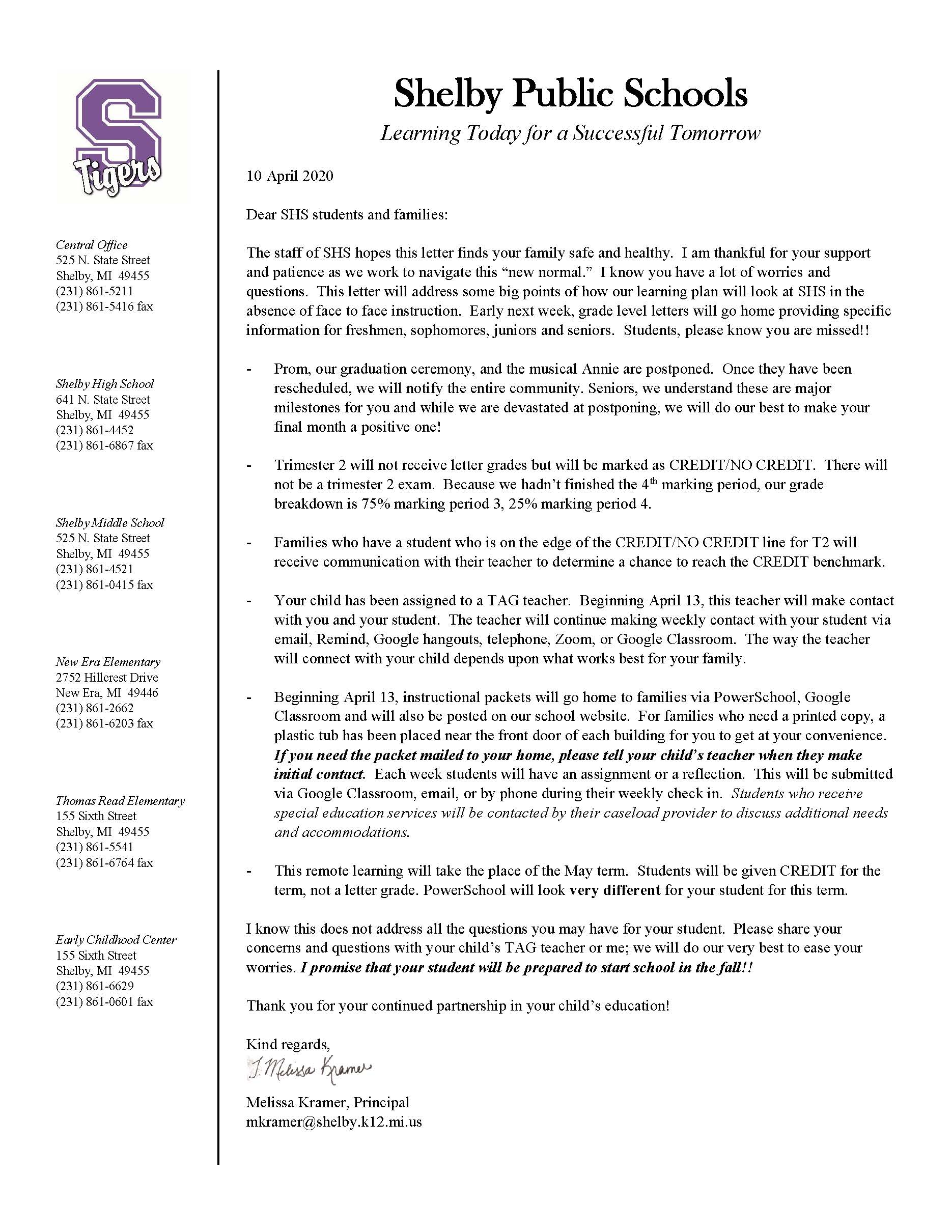 Picture of the letter to high school parents from April 10, 2020