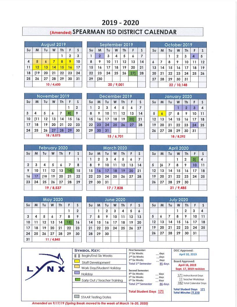 2019-2020 Instructional Calendar