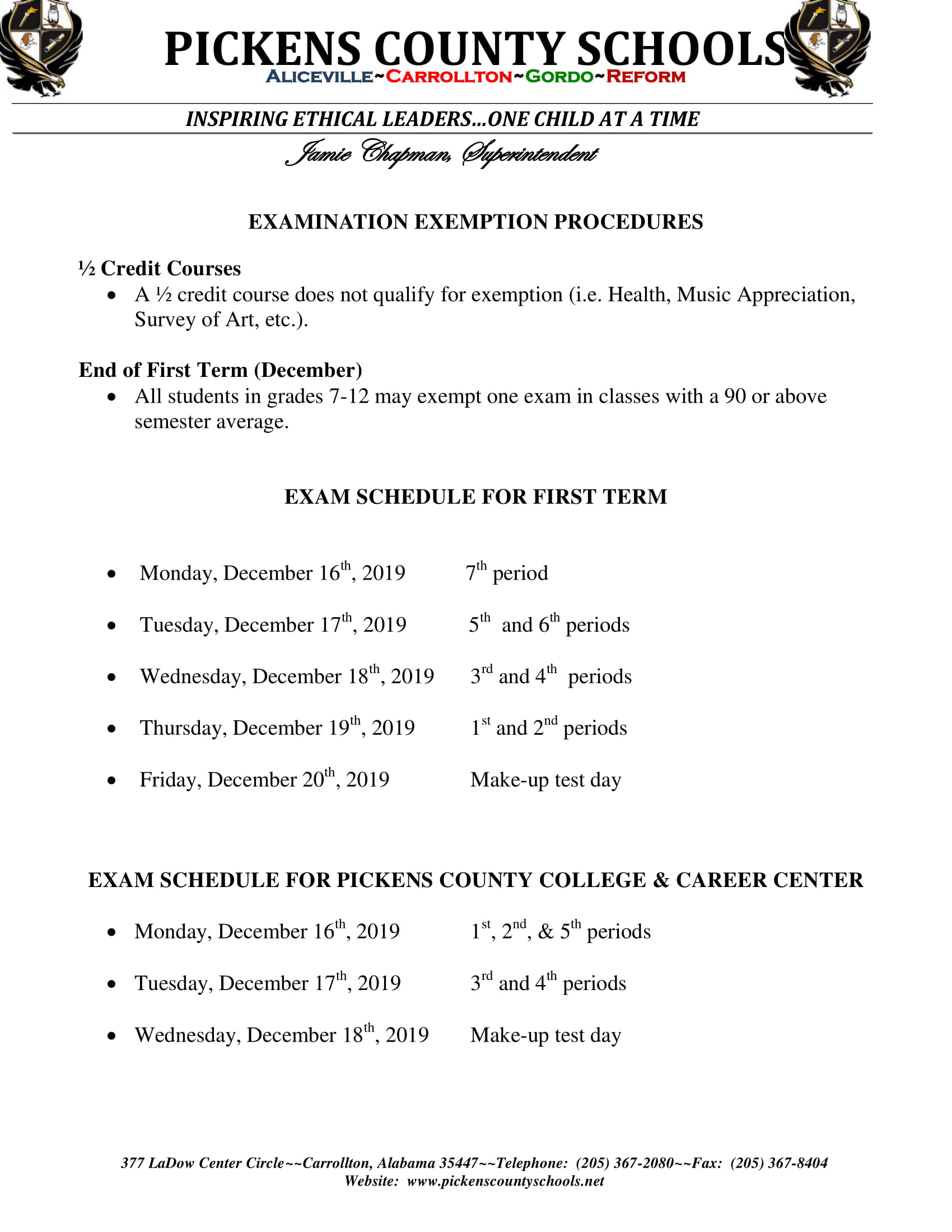 First Semester Exam Schedule - December 2019