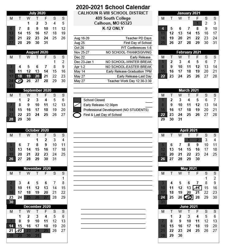 K-12 Calendar