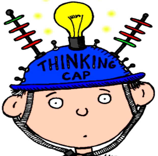 Boy with a thinking cap on