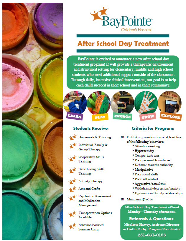 """BayPointe After School Day Treatment Program: If you would like your child to participate in the following program, go to """"Documents,"""" download  the ASDT Referral Form, and complete it. Contact individuals by email  or phone that are listed on the form."""
