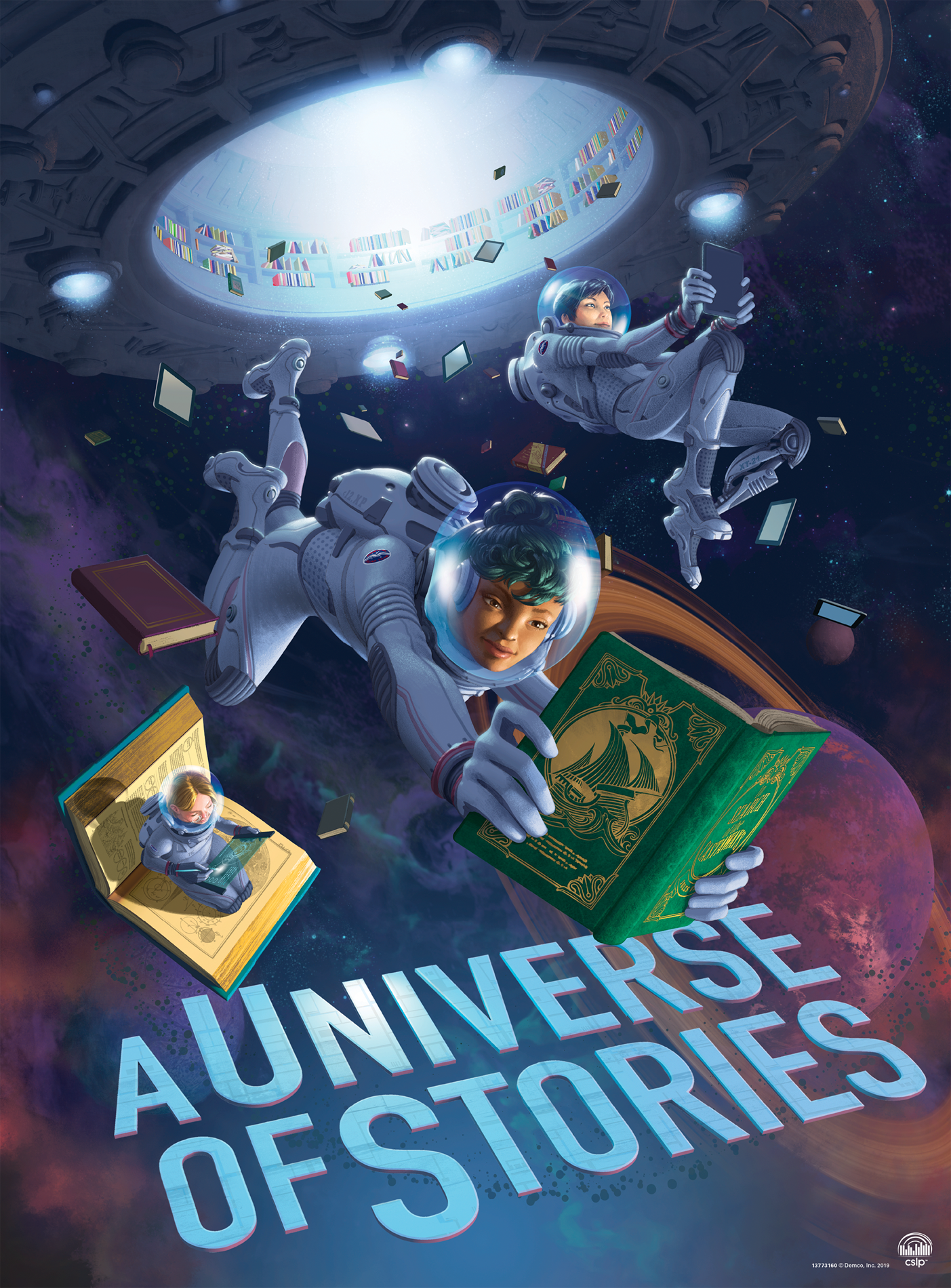 CSLP Universe of Stories Summer Reading Program 2019 Teen Poster by artist Antonio Caparo